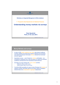 Understanding money markets via surveys Money Markets and surveys Peter Neudorfer