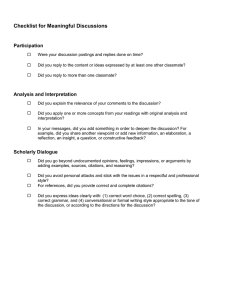 Checklist for Meaningful Discussions Participation