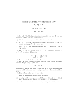 Sample Midterm Problems Math 3210 Spring 2010 Instructor: R´ emi Lodh