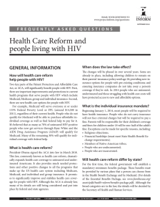 Health	Care	Reform	and people	living	with	HIV GENERAL INFORMATION