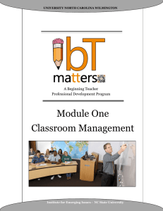 Module One Classroom Management A Beginning Teacher Professional Development Program