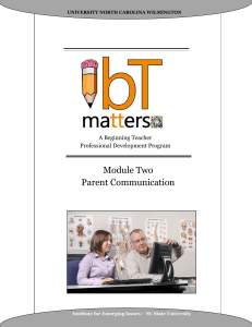 Module Two Parent Communication A Beginning Teacher Professional Development Program