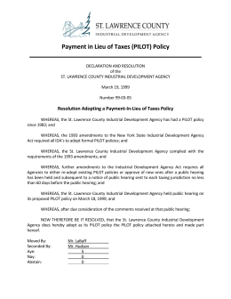 Payment in Lieu of Taxes (PILOT) Policy  ____________________________________________________
