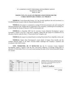 ST. LAWRENCE COUNTY INDUSTRIAL DEVELOPMENT AGENCY Resolution No. 09-03-18 March 24, 2009