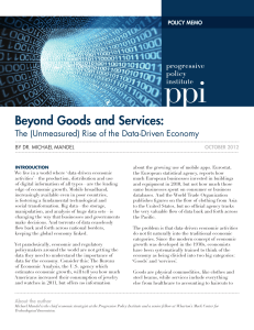 beyond Goods and Services:  POLICY MEMO By Dr. Michael ManDel
