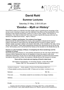 David Rohl 'Exodus – Myth or History' Summer Lectures