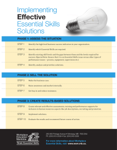 Implementing Essential	Skills Solutions effective