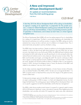 CGD Brief A New and Improved African Development Bank? An update on recommendations