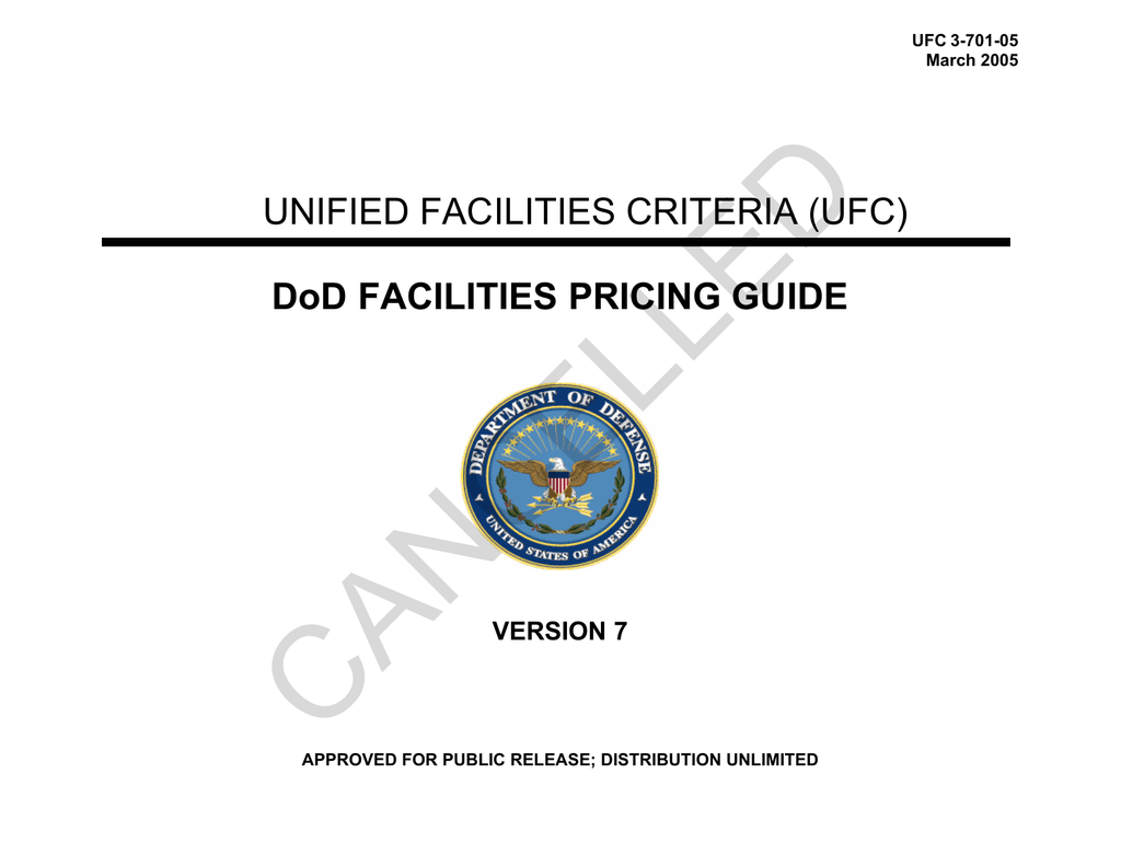 Cancelled Unified Facilities Criteria Ufc Dod Pricing Guide Hunter 42122 Wiring Diagram