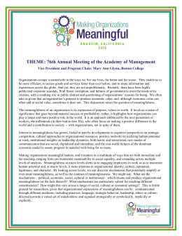 THEME: 76th Annual Meeting of the Academy of Management