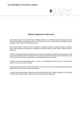 Mission Statement for Research UCL DEPARTMENT OF STATISTICAL SCIENCE