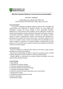 ENVS 812: Statistical Methods in Environment and Sustainability Instructor: Yanping Li