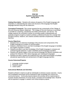 EDN 326 Applied Linguistics for ESL Spring 2010