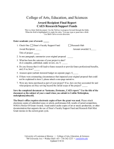 College of Arts, Education, and Sciences  Award Recipient Final Report