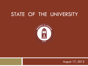 STATE  OF  THE  UNIVERSITY August 17, 2012