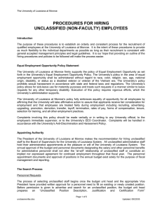 PROCEDURES FOR HIRING UNCLASSIFIED (NON-FACULTY) EMPLOYEES