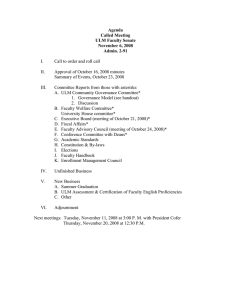 Agenda Called Meeting ULM Faculty Senate November 6, 2008
