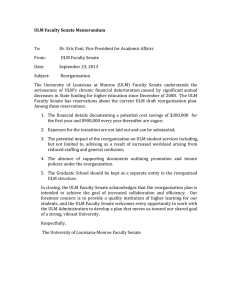 ULM Faculty Senate Memorandum    To:                   Dr. Eric Pani, Vice President for Academic Affairs  From:               ULM Faculty Senate