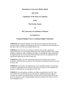 Resolution to Governor Bobby Jindal  and to the