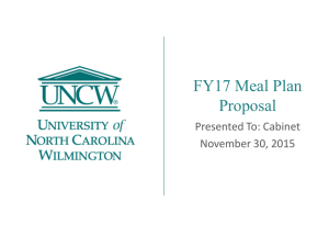 FY17 Meal Plan Proposal Presented To: Cabinet November 30, 2015