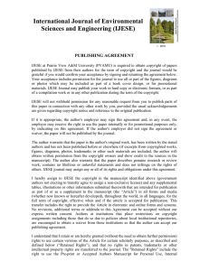 International Journal of Environmental Sciences and Engineering (IJESE)  PUBLISHING AGREEMENT