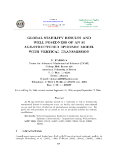 GLOBAL STABILITY RESULTS AND WELL POSEDNESS OF AN SI AGE-STRUCTURED EPIDEMIC MODEL