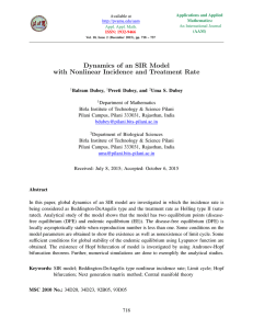 Dynamics of an SIR Model with Nonlinear Incidence and Treatment Rate