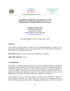 Asymptotic Properties of Solutions of Two Dimensional Neutral Difference Systems Thiagarajan Revathi