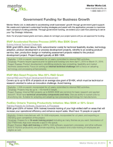 Government Funding for Business Growth Mentor Works Ltd. www.mentorworks.ca 1-888-599-3111
