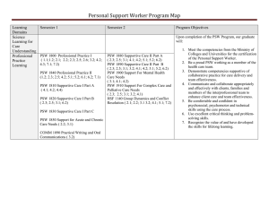 Personal Support Worker Program Map  Learning Semester 1