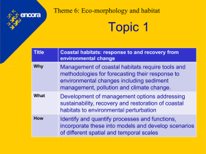 Topic 1 Theme 6: Eco-morphology and habitat