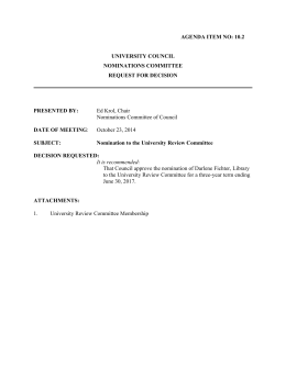 Ed Krol, Chair Nominations Committee of Council AGENDA ITEM NO: 10.2