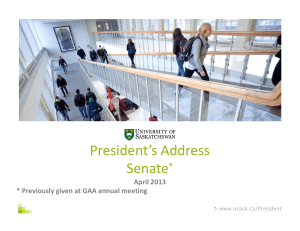 President's Address Senate * April 2013