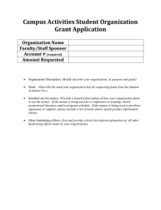 Campus Activities Student Organization Grant Application  Organization Name