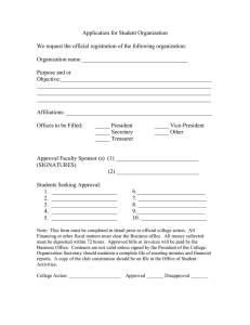 Application for Student Organization