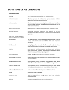 DEFINITIONS OF JOB DIMENSIONS COMMUNICATING