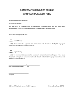 ROANE STATE COMMUNITY COLLEGE CERTIFICATION/FACULTY FORM