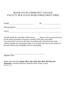 ROANE STATE COMMUNITY COLLEGE FACULTY SICK LEAVE BANK ENROLLMENT FORM