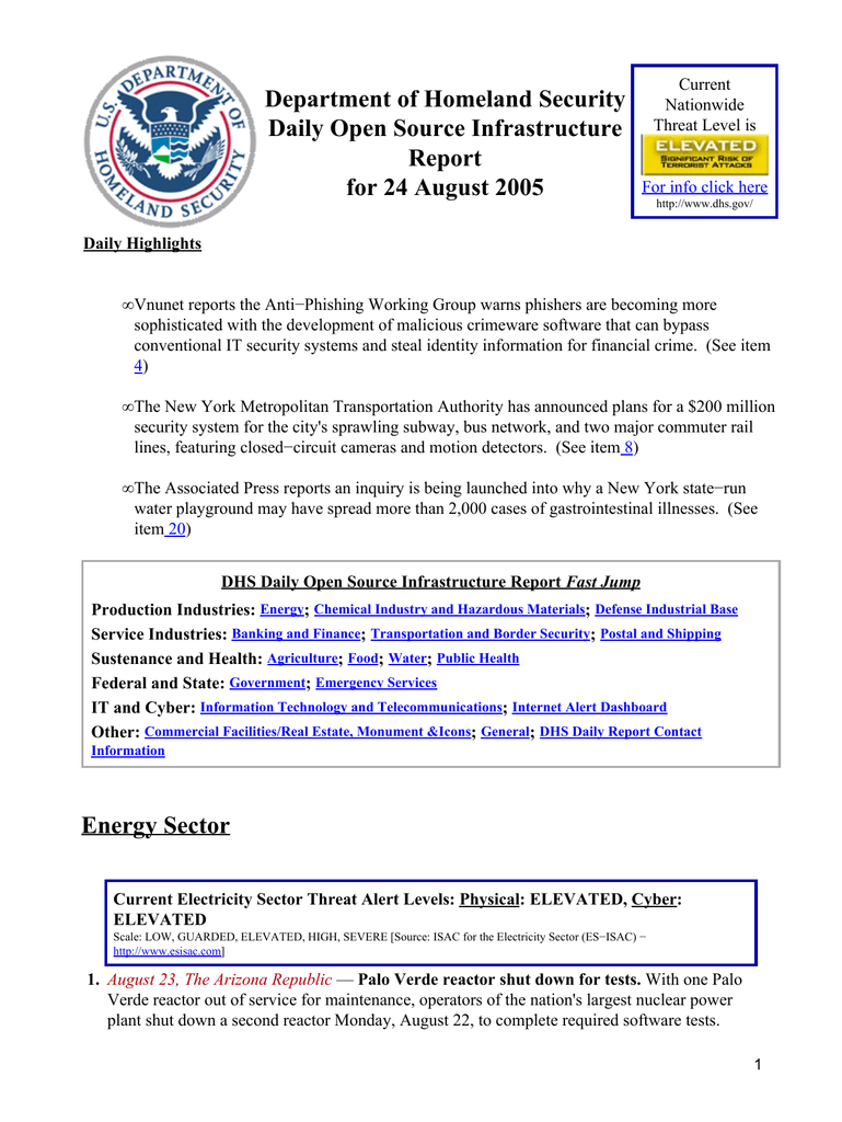 Department of Homeland Security Daily Open Source Infrastructure