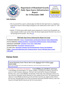 Department of Homeland Security Daily Open Source Infrastructure Report for 14 December 2005