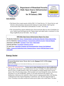 Department of Homeland Security Daily Open Source Infrastructure Report for 30 January 2006
