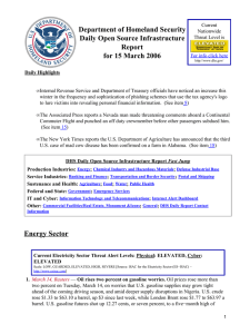 Department of Homeland Security Daily Open Source Infrastructure Report for 15 March 2006