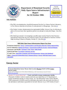 Department of Homeland Security Daily Open Source Infrastructure Report for 26 October 2006
