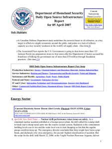 Department of Homeland Security Daily Open Source Infrastructure Report for 05 April 2007
