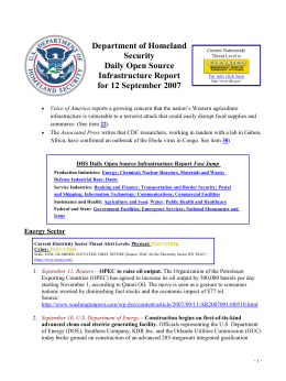 Department of Homeland Security Daily Open Source Infrastructure Report