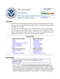 Homeland Security  Daily Open Source Infrastructure