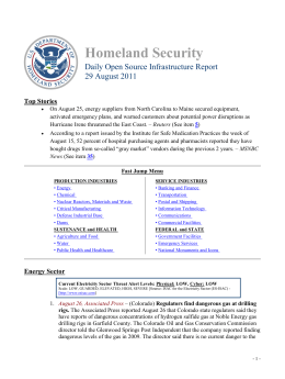 Homeland Security Daily Open Source Infrastructure Report 29 August 2011 Top Stories