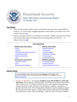 Homeland Security Daily Open Source Infrastructure Report 19 October 2011 Top Stories