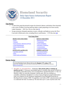 Homeland Security Daily Open Source Infrastructure Report 14 December 2011 Top Stories
