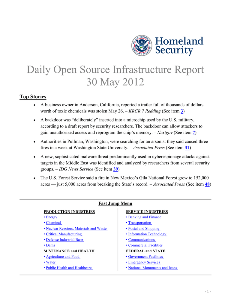 Daily Open Source Infrastructure Report 30 May 2012 Top Stories